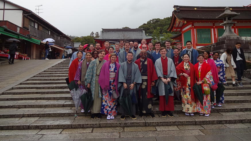 Students in traditional clothing