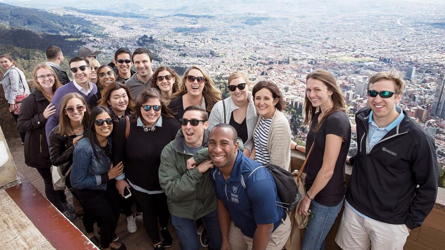 Students international travel group photo