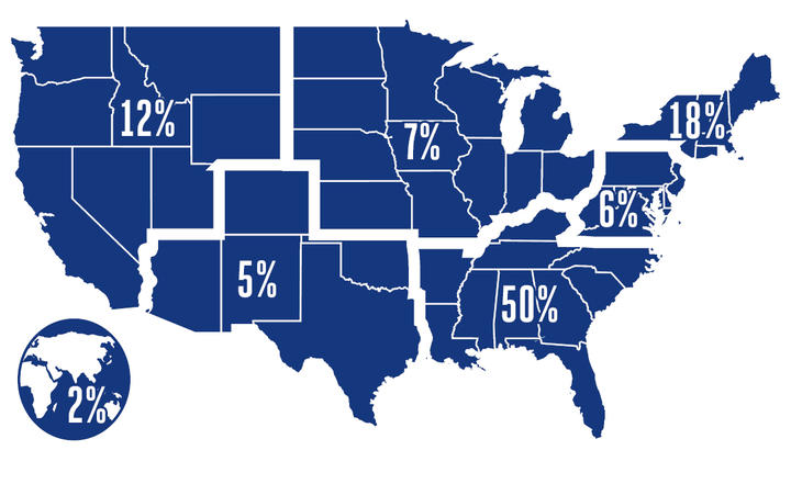 Region Map: Two-Year MBA Full-Time Employment